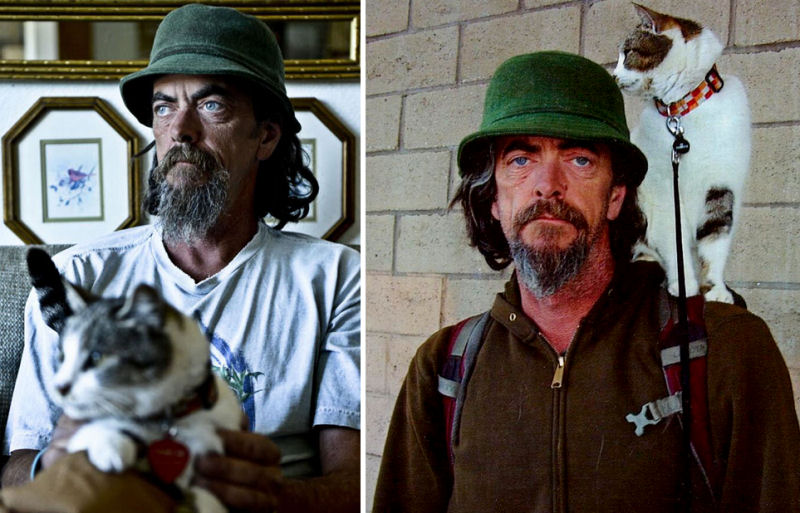 lost cat and homeless man