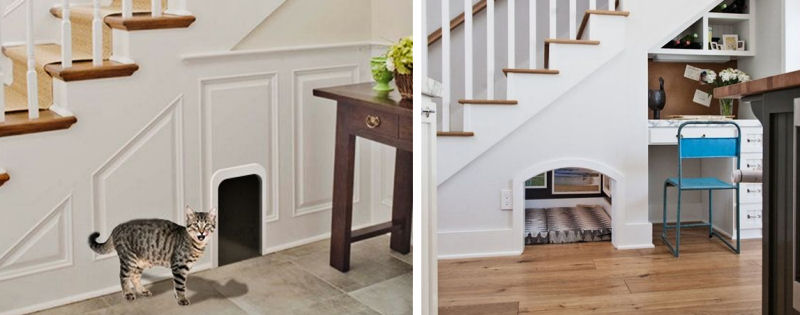 Turn the Empty Space Under Your Stairs into a Kitty Playhouse - The