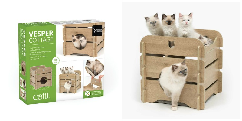 ae51db600e The Vesper Cottage is a cubical piece of cat furniture with a snug hideout  at the bottom and a lookout point on top. The hideout at the bottom has two  ...